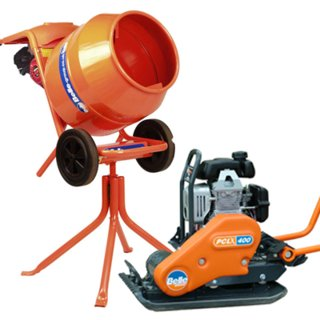 Cement Mixer & Vibrating Plate (Petrol) Kit